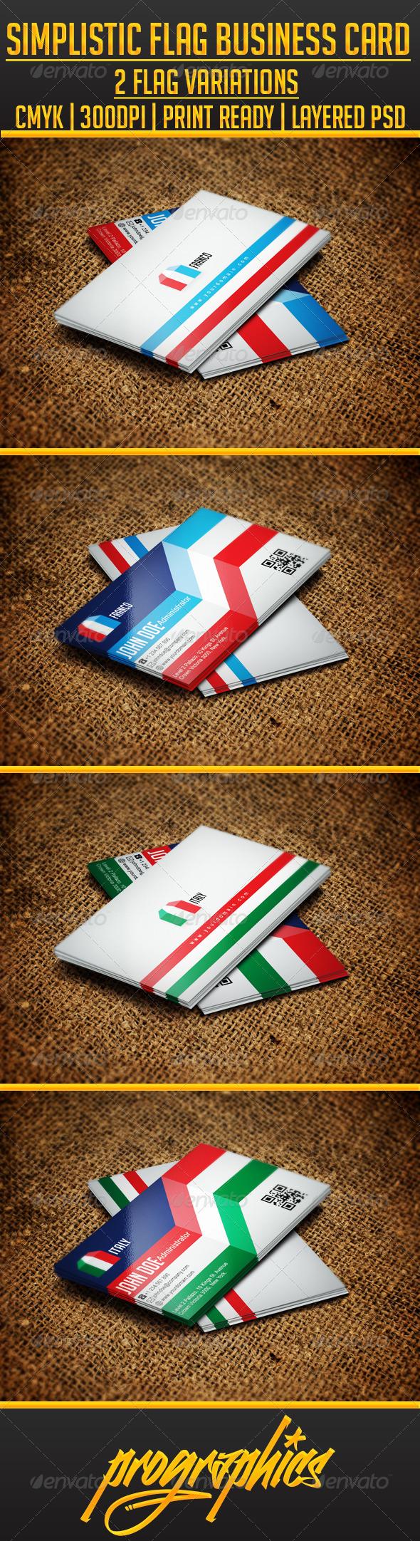 GraphicRiver Simplistic Flag Business Card 3352717