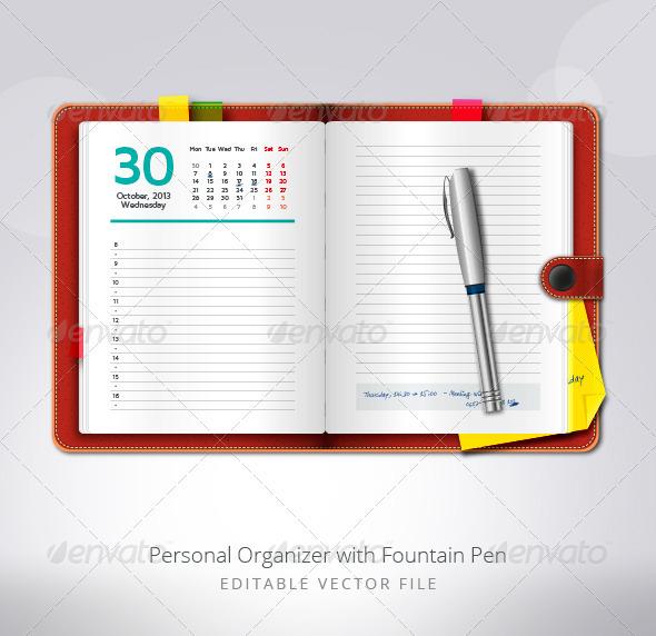 GraphicRiver Personal Organizer with Fountain Pen 3362973