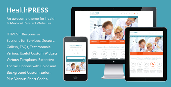 ThemeForest HealthPress Health and Medical WordPress Theme 3138064