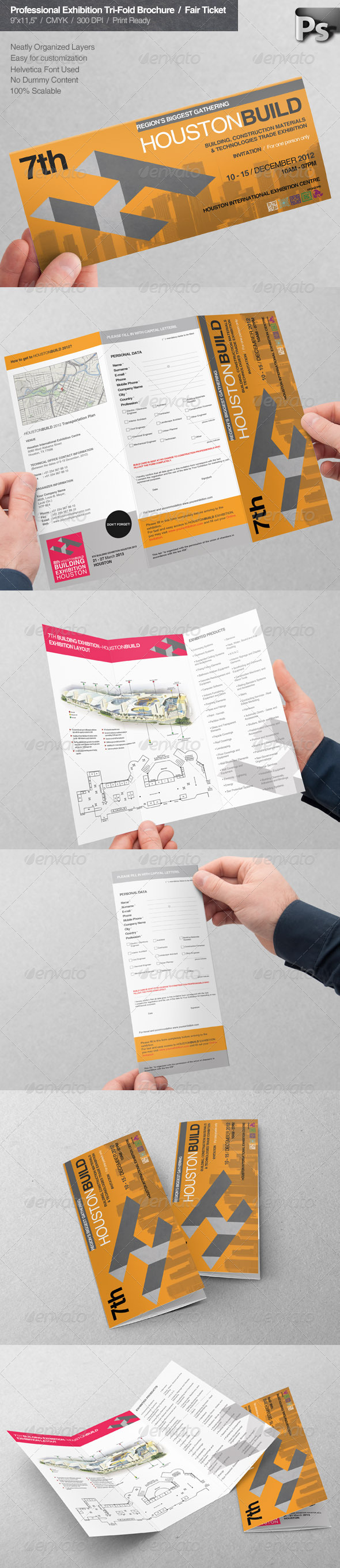Professional Exhibition Tri-Fold Brochure Ticket