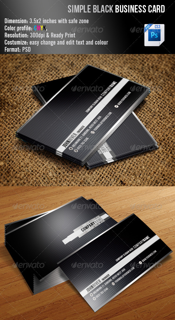 GraphicRiver Simple Black Business Card 3372006
