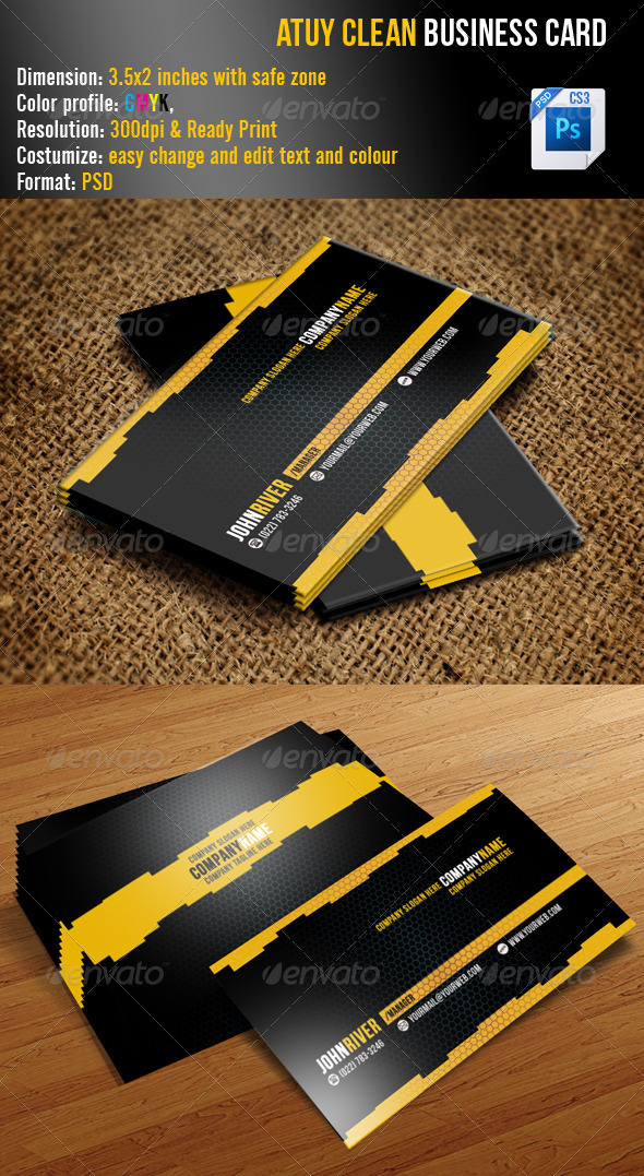 GraphicRiver Atuy Clean Business Card 3372029