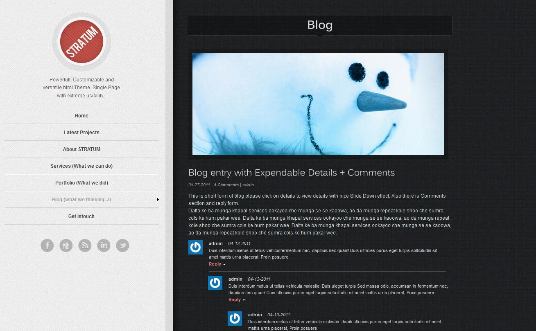 Stratum – HTML single page Template