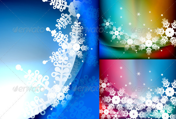 GraphicRiver Vector Snowflakes Backgrounds 3372345