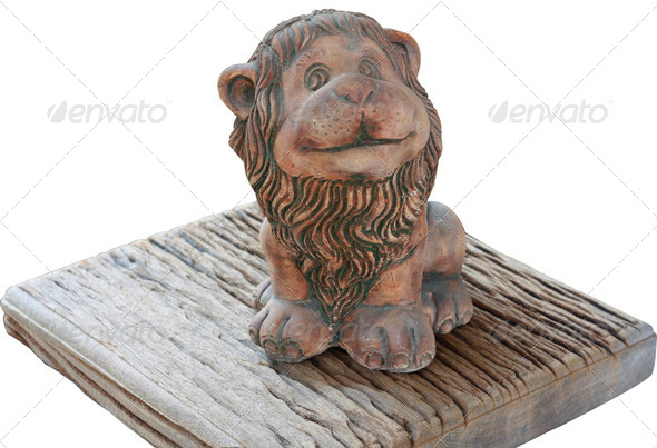 The pottery of little lion - Stock Photo - Images