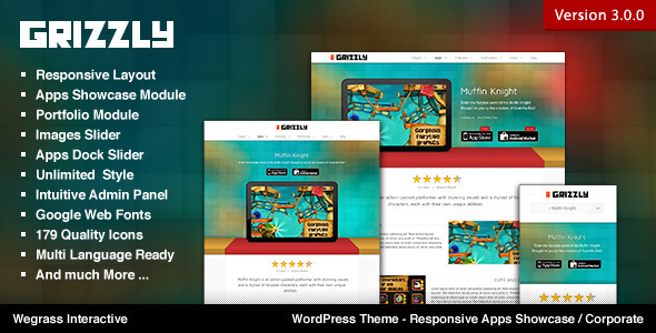 ThemeForest Grizzly Responsive App Showcase Corporate 1546240