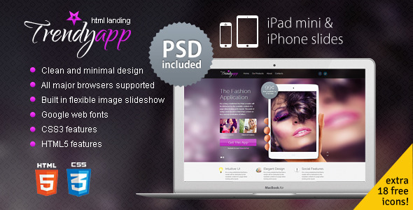 ThemeForest TrendyApp HTML5/CSS3 App Showcase Landing Page Marketing Landing Pages 3360217