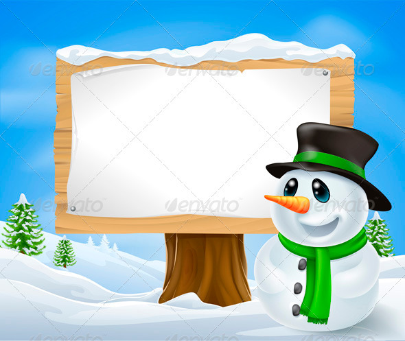 GraphicRiver Christmas Snowman Sign 3373304