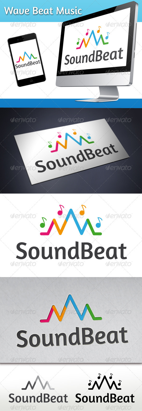 GraphicRiver Wave Beat Music Logo 3373359