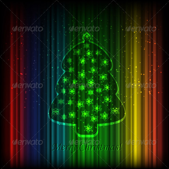 GraphicRiver Vector Fir Tree on Shiny Background 3373420