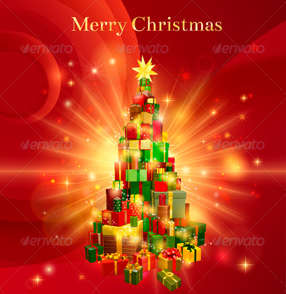 GraphicRiver Red Merry Christmas Gift Tree Design 3373483
