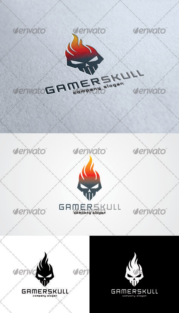 GraphicRiver Gamer Skull Logo 3373830