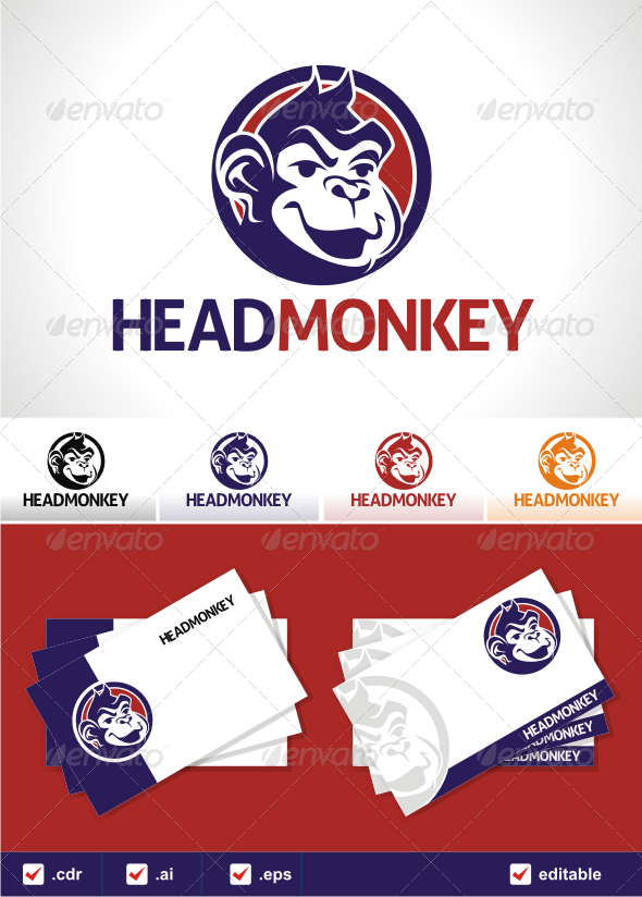GraphicRiver Head monkey logo 3373883