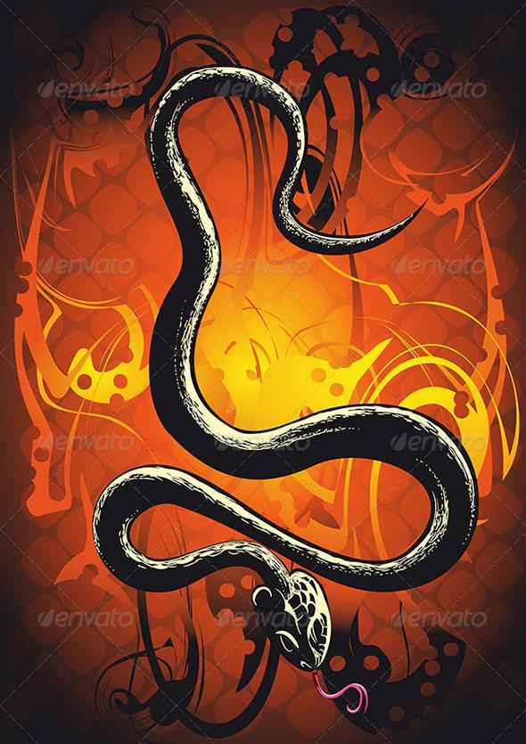 GraphicRiver Black Snake in Orange 3354227