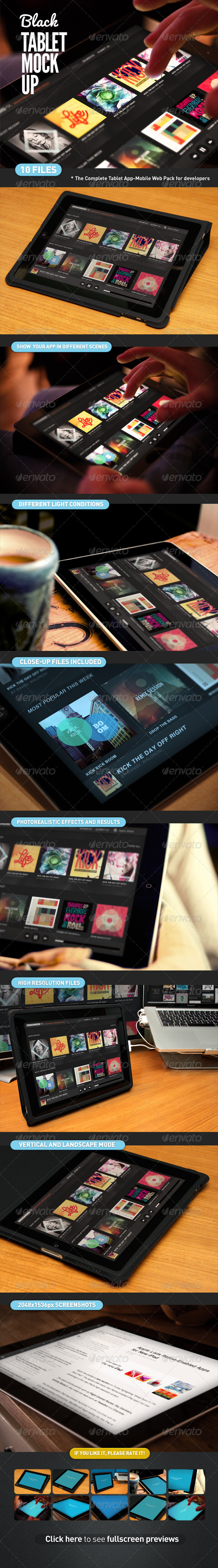 GraphicRiver Black Pad Tablet App UI Mock-Up 3374437