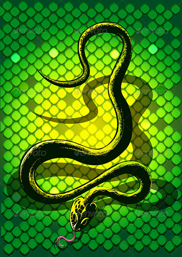 GraphicRiver The Black Snake in Green 3354235