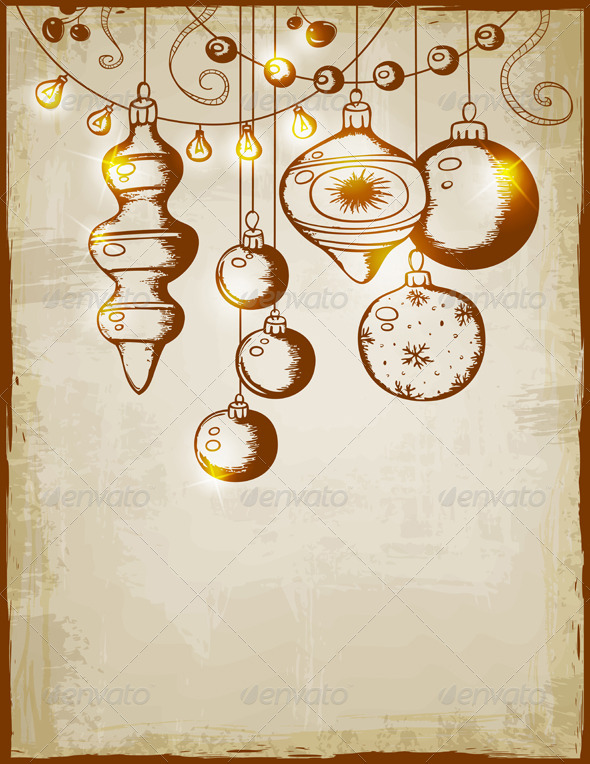 GraphicRiver Vintage Vector Christmas Card 3374614