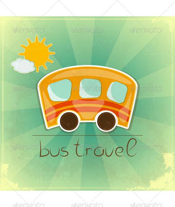 GraphicRiver Fun bus travel card 3374988