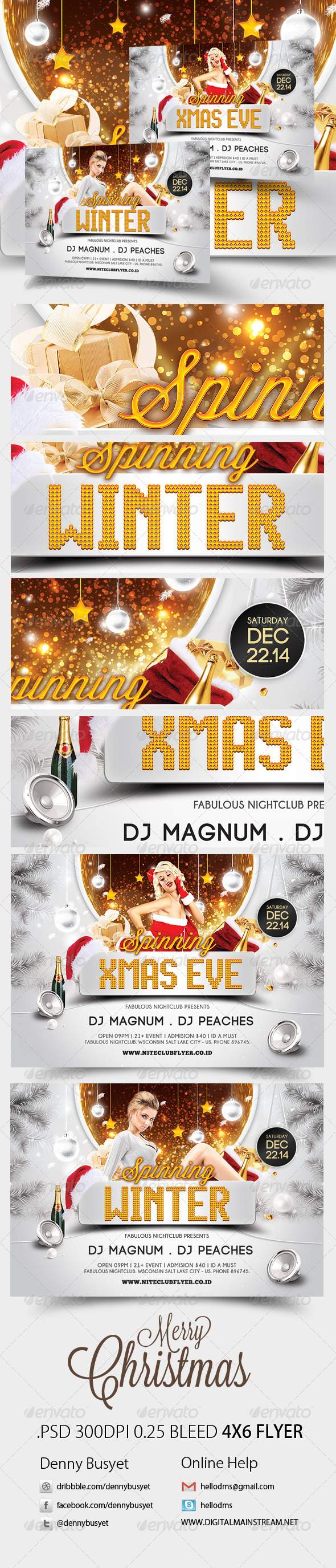 GraphicRiver Spinning Winter And Xmas Party Flyer Template 3375133