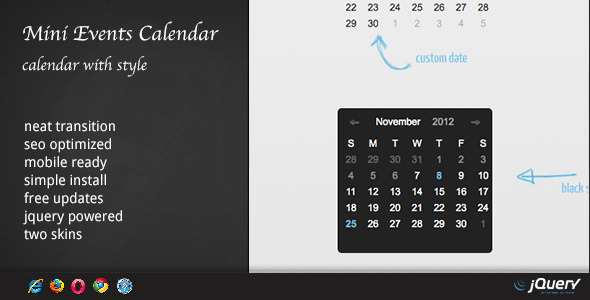 CodeCanyon DZS jQuery Mini Events Calendar 3372045