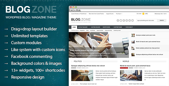 ThemeForest Blogzone Drag-and-drop Builder Magazine Theme 3376055