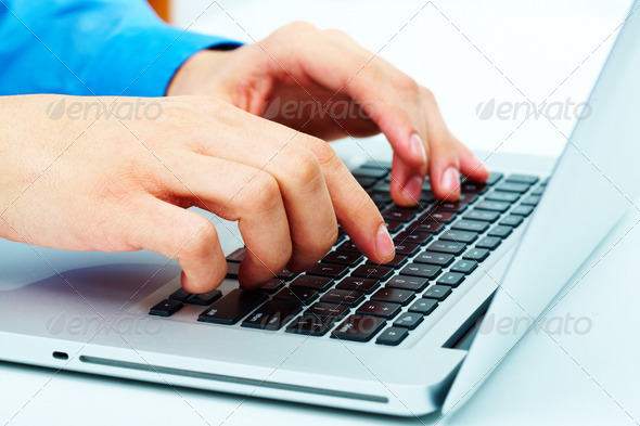 Hands over keyboard - Stock Photo - Images
