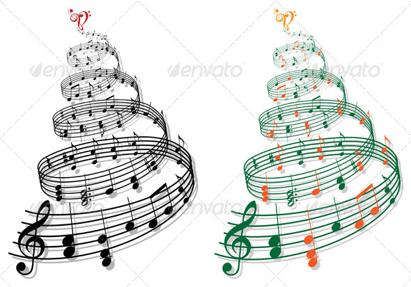 GraphicRiver Christmas Tree With Music Notes Vector 3376483