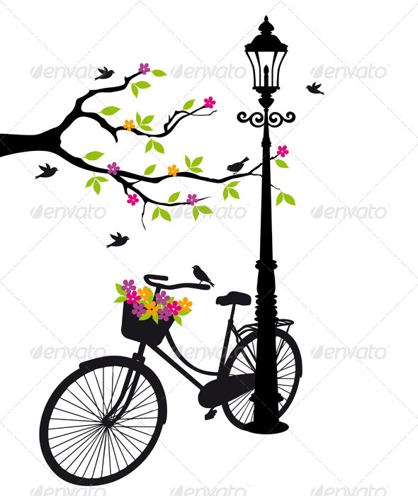 Bicycle With Flowers And Tree, Vector