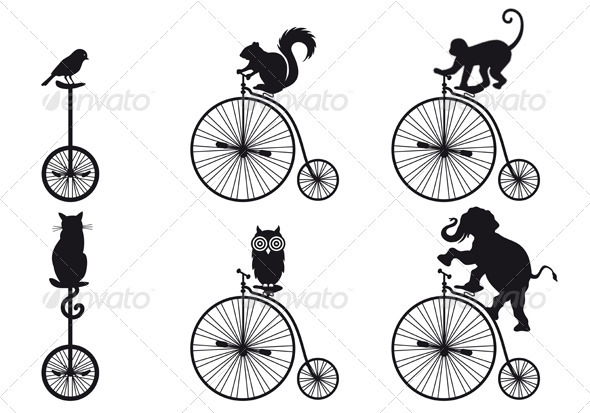 GraphicRiver Old Bicycle With Animals Vector 3183382