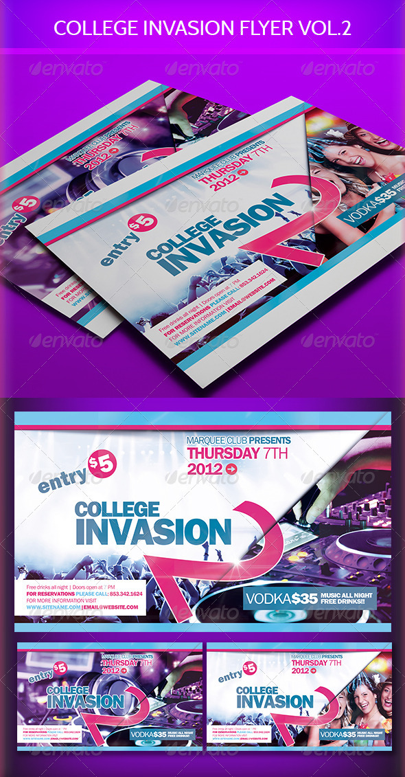 College Invasion Flyer vol.2 - Clubs & Parties Events