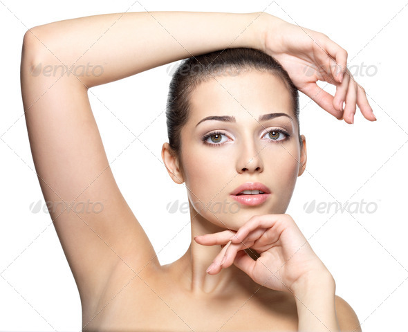 Beauty face of young woman. Skin care concept. - Stock Photo - Images