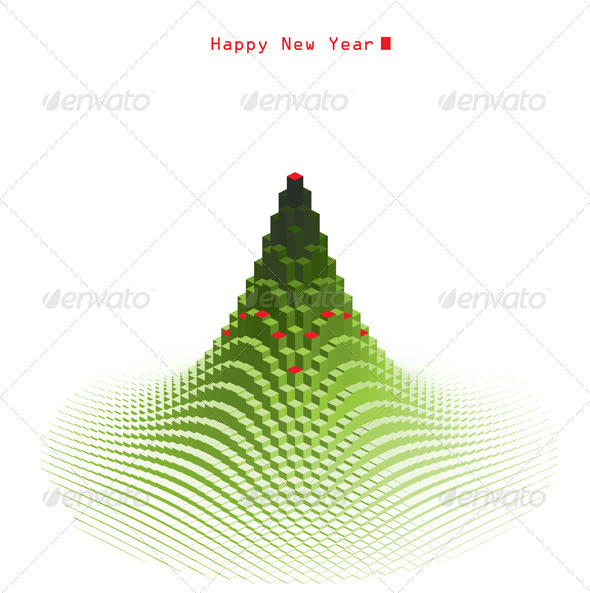GraphicRiver Merry Christmas Green Tree Design 3376873