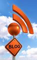 blog sign orange black with rss symbol