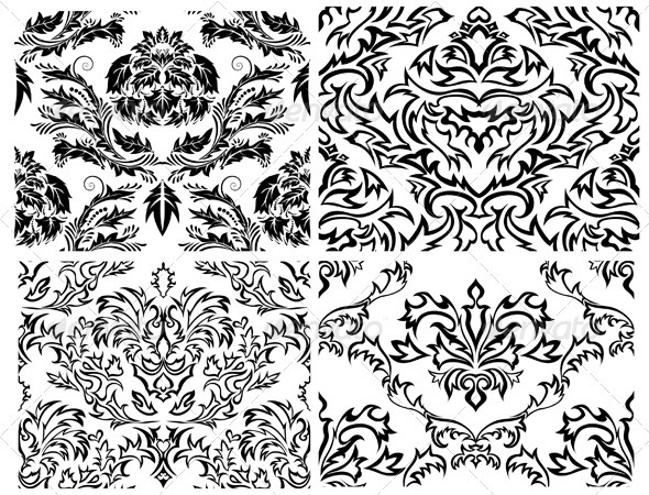 GraphicRiver Damask Pattern Set 3362015