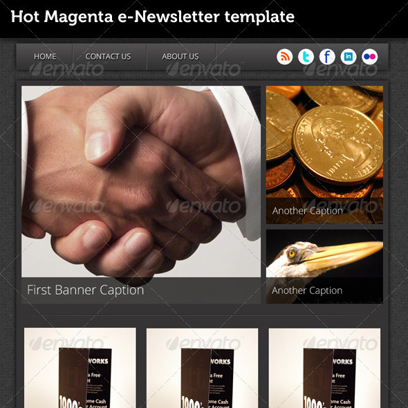 Hot Magenta e-Newsletter Template - E-newsletters Web Elements