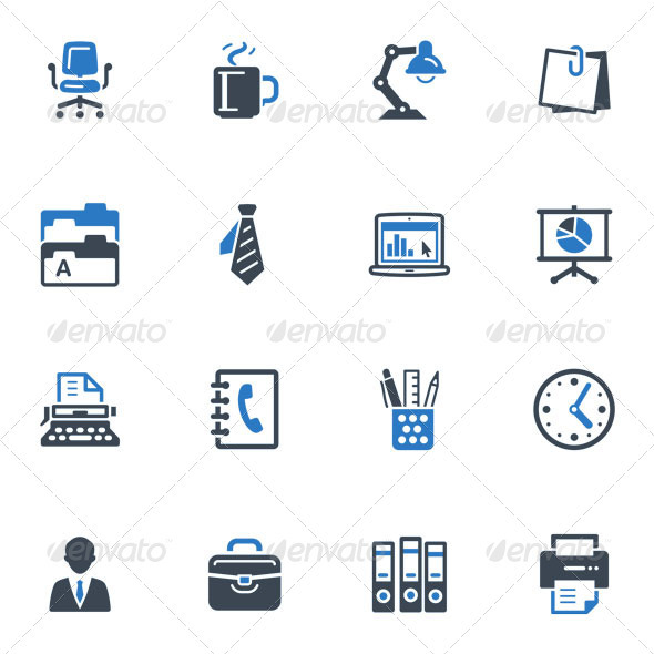 GraphicRiver Office Icons-Blue Series 3377772