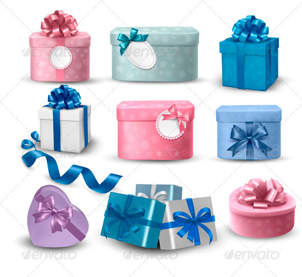 GraphicRiver Set of colorful gift boxes with bows and ribbons 3371650