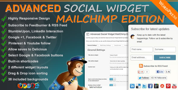 CodeCanyon Advanced Social Widget MailChimp Edition 2274641