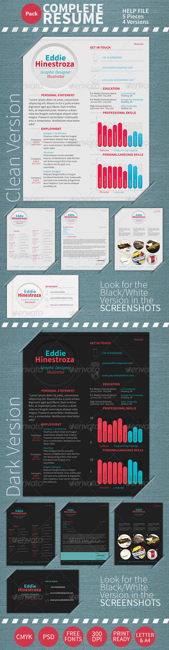 GraphicRiver Professional Resume CV 5 Pieces 3347549