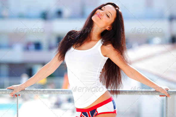 Pretty woman in shirt - Stock Photo - Images