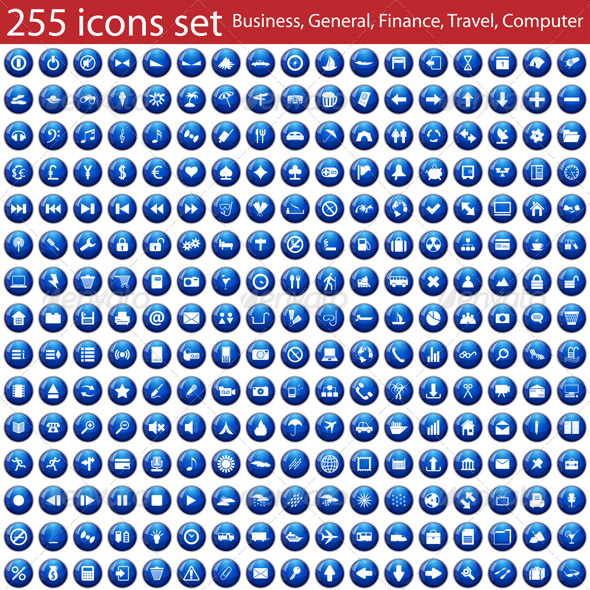 GraphicRiver Set of 255 Icons 3366361