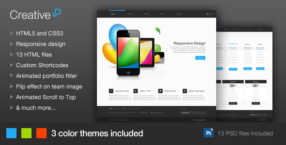 ThemeForest Creative Responsive HTML Template 3279410
