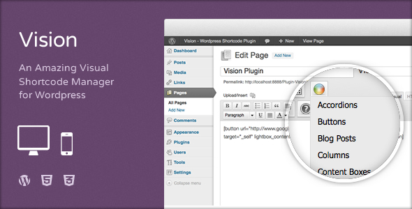 CodeCanyon Vision Wordpress Shortcodes Plugin 3372371