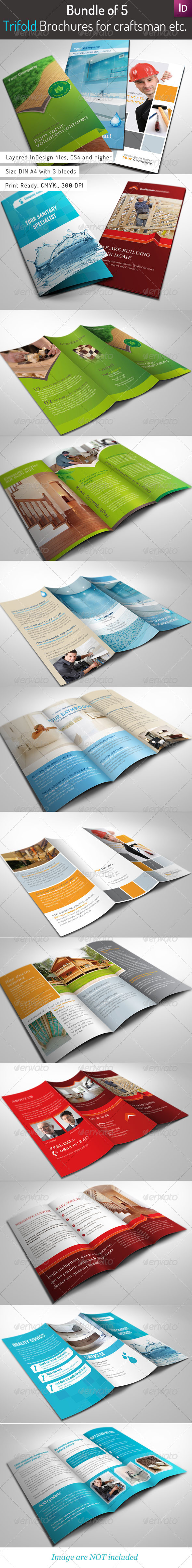 GraphicRiver Bundle of 5 Trifold Brochures 3381150