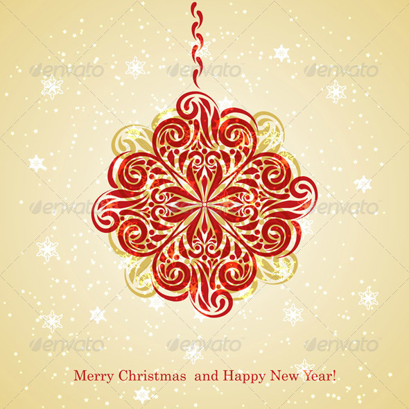 GraphicRiver Vector Christmas Greeting Card with Fir Tree Ball 3382296