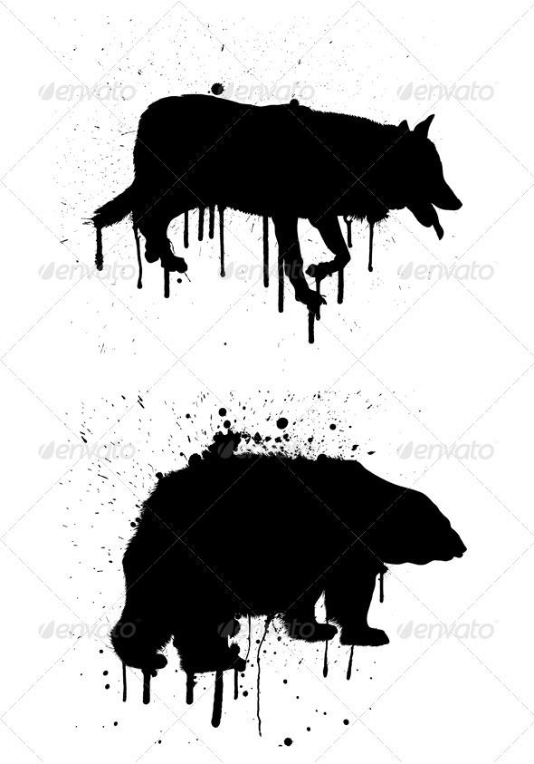 GraphicRiver Grunge wolf 3311843