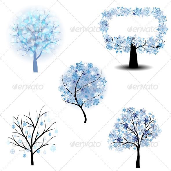 GraphicRiver Winter tree set 3339279