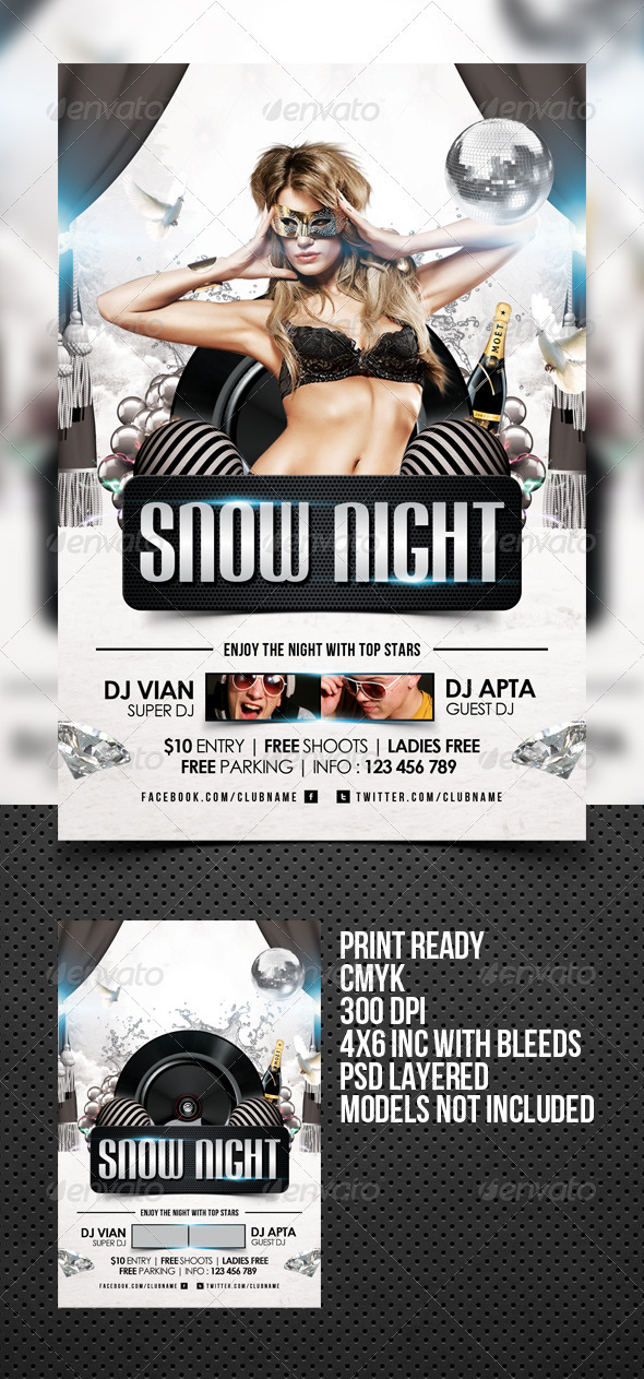 GraphicRiver Snow Night Flyer Template 3365261
