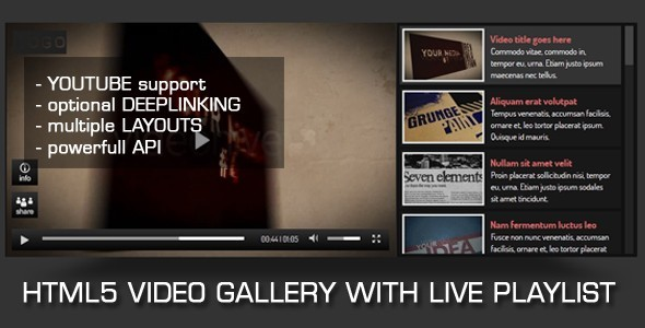 CodeCanyon HTML5 Video Gallery with Live Playlist 490139
