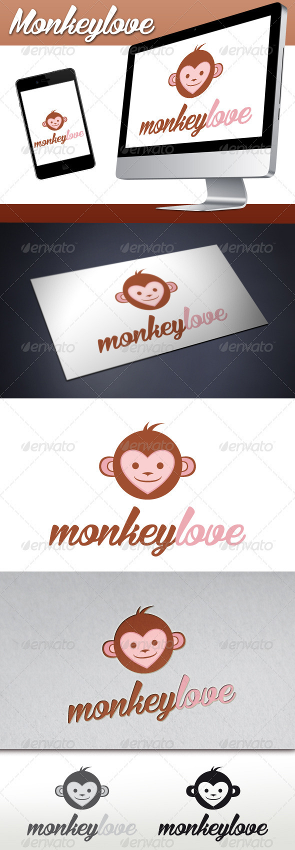 GraphicRiver Monkey Love Mascot Logo 3373418